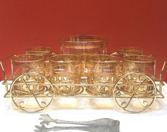Culver, Ltd. Antiqua Ice Bucket, Eight Double Old Fashioned Glasses, and Wagon Caddy Cart