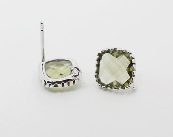 E008707/Olive Green/Faceted Glass +Rhodium Plated Over Brass Frame+Sterling Silver Post/Tooth Framed Square Glass Earrings/10x 10mm/2pcs