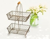 Farmhouse Decor | Two Tier Wire Basket | Storage Basket | Cupcake Stand | Craft Supplies and Tools | Home Decor | Baskets