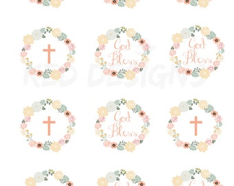 Printable-Christening-Baptism-Dedication-Cupcake Toppers-Personalize-God Bless-Digital-Vintage-white-Floral Wreath-Laurel Wreath
