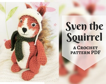 Sven the Squirrel, amigurumi crochet pattern, written PDF pattern in English