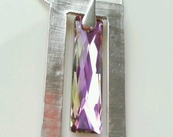 pink swarovski pendant necklace - swarovski pendant - rectangle pendant - silver and swarovski pendant - swarovski column pendant