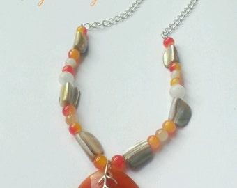 Long pendant necklace - fall necklace - burnt orange necklace - natural agate pendant necklace - orange agate pendant
