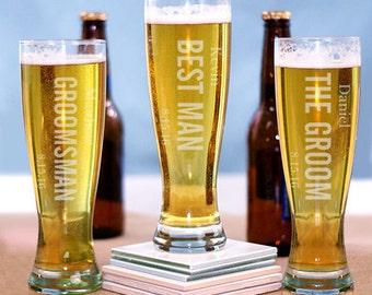 5 Personalized Beer Glasses – Groomsmen Gift - 5 Groomsmen Pilsners – Custom Engraved Pilsner Glass – Beer – Father Of The Bride – Groom Mug