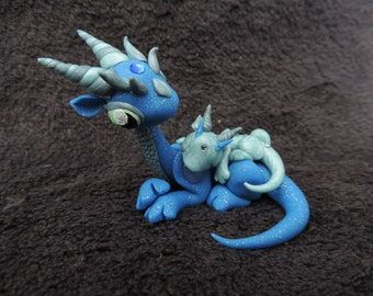 Mother and baby polymer clay dragon