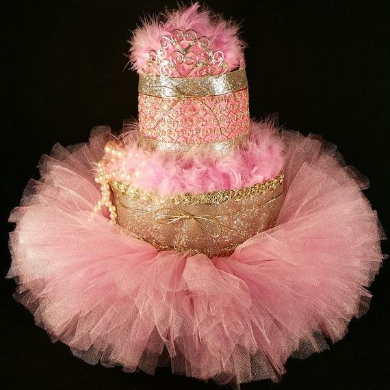 Tier pink gold diaper cake w tiara tutu by tiersofjoybyus