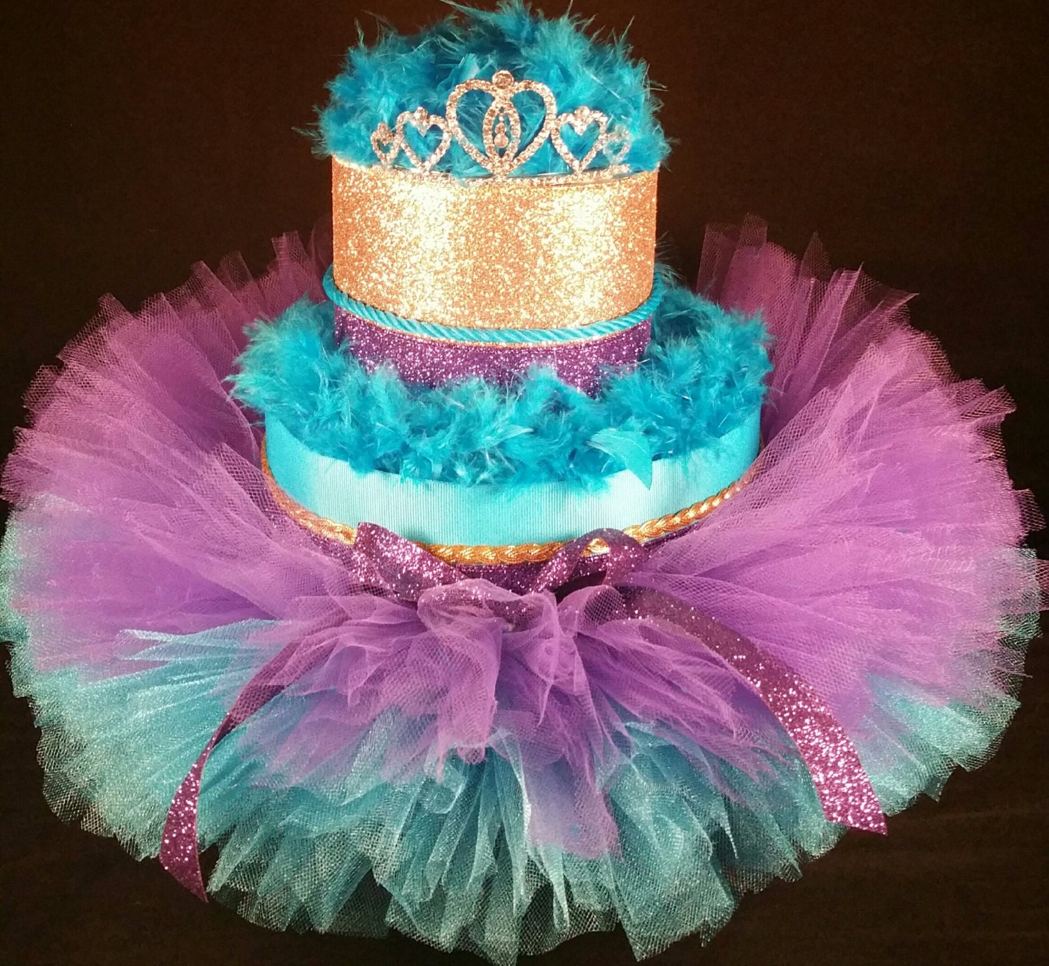 2 Tier Teal Purple & Gold DIAPER CAKE w princess tiara
