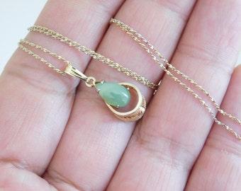 Vintage Sterling Silver Serpentine 18k Gold Plated Necklace Pendant