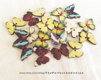 20pcs Mixed Butterfly Wooden Buttons, 25mm Buttons, 2 Hole Buttons, Colourful Buttons, Sewing Buttons, Fancy Buttons, WB25-001