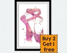 Pink ballerina watercolor poster Ballet poster Ballerina flats colorful print Home decoration Dance wall art Kids room decor Gift art W567