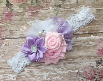 Vintage baby headband-lavender pink and white baby headband-vintage lace pearl pink baby headband-lavender pink headband-lavender headband