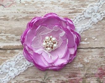 Lavender orchid baby headband- light purple  lace baby headband- lavender newborn headband-lavender orchid vintage baby headband- baby bow