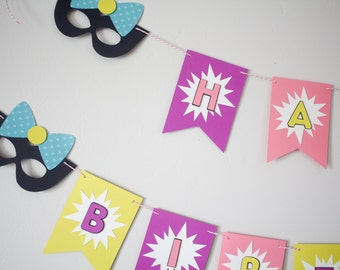 Girl Superhero Birthday Banner