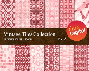 Vintage Tiles Digital Paper Pink 12pcs 300dpi Digital Download Collage Sheets Scrapbooking Printable Paper