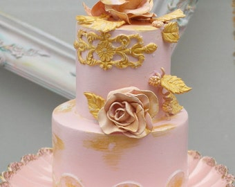 """faux cake wedding topper fake  display prop party decoration table scape pink gold shabby chic cake toppers """"Little Velda"""" #2."""