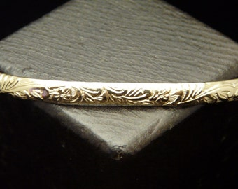 14KT Gold Filled Classic Floral Pattern 6 ga. Cuff Bracelet