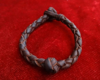 Braided leather bracelet 1 (+1) ball custom genuine leather bracelet, mens bracelet womens bracelet black leather brown leather