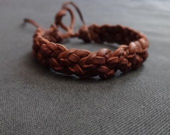 celtic bracelet, braided leather bracelet triple braid (3x3) celtic braid mens bracelet womens bracelet brown or black hand made custom made