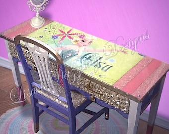 Girls desk   - frozen birthday - girls furniture  - pink furniture - sparkling furniture - kids desk - kids room decor gift for kids