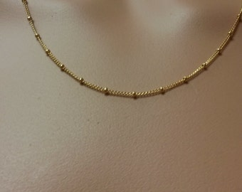 Gold Filled Tiny Gold Bead Necklace