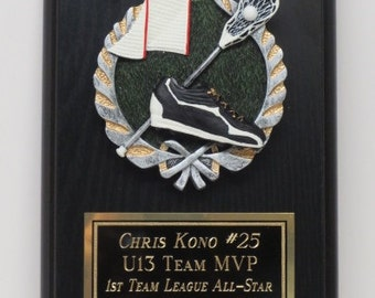 Lacrosse Trophy Sports Award Plaque 6 x 8 Includes FREE ENGRAVING