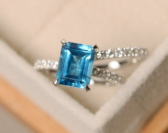 Swiss blue topaz ring, engagement ring, blue gemstone topaz ring, wedding ring