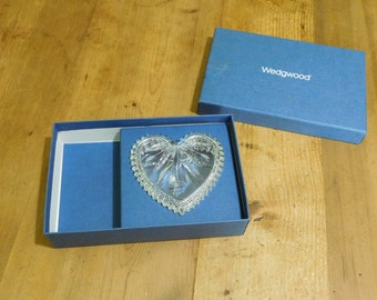 Wedgwood Lead Crystal Heart Shaped Jewelry Trinket Box Germany