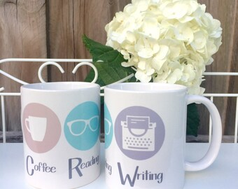 Coffee Reading Writing Logo Mug
