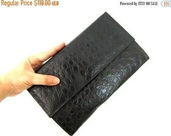 SALE 50% OFF Leather Clutch Purse Bag - Croco Matte Black (M.0736) Leather handbag, Clutch Wallet, Leather Crossbody Bag, Clutch Wallet, Cro