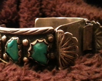 Vintage Sterling and turquoise Watch Cuff by famous Zuni designer Angie C