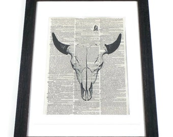 Buffalo Skull Vintage Dictionary Art Print In Distressed Picture Frame