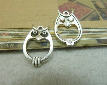 20 Owl Charms Antique Silver Tone Love