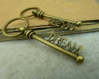 10 Dream Key Charms Antique Bronze Tone 2 Sided - WS4117