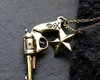 Gun and Star Necklace by Defy / Bunny Skull Charm Brass Pendant Necklace Jewelry