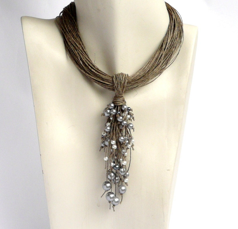 Linen Jewellery: Linen Necklace Linen Necklaces Necklaces Jewelry Eco Jewelry