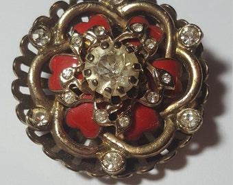 Vintage Rhinestone Red Enamel Pendant