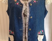 vintage upcycled denim crocheted vest, vintage crochet linens, embroidered and pink lace trim