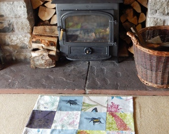 Patchwork Bee and Foxglove screen printed mat/rug.
