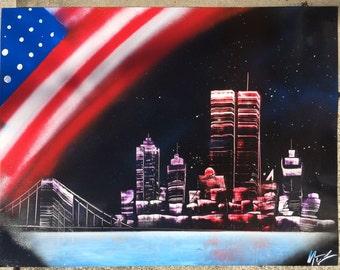 American Flag NYC - Spray Paint Art