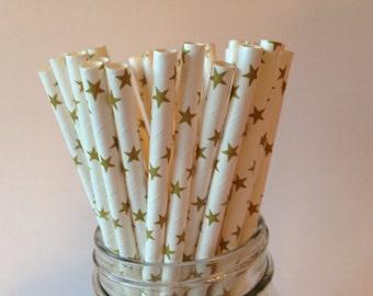 Gold Stars Straws, Gold Stars Paper Straws, Gold Stars Party Straws, Gold Straws, Wedding Straws, Golden Anniversary, Party Straws,  10 pcs