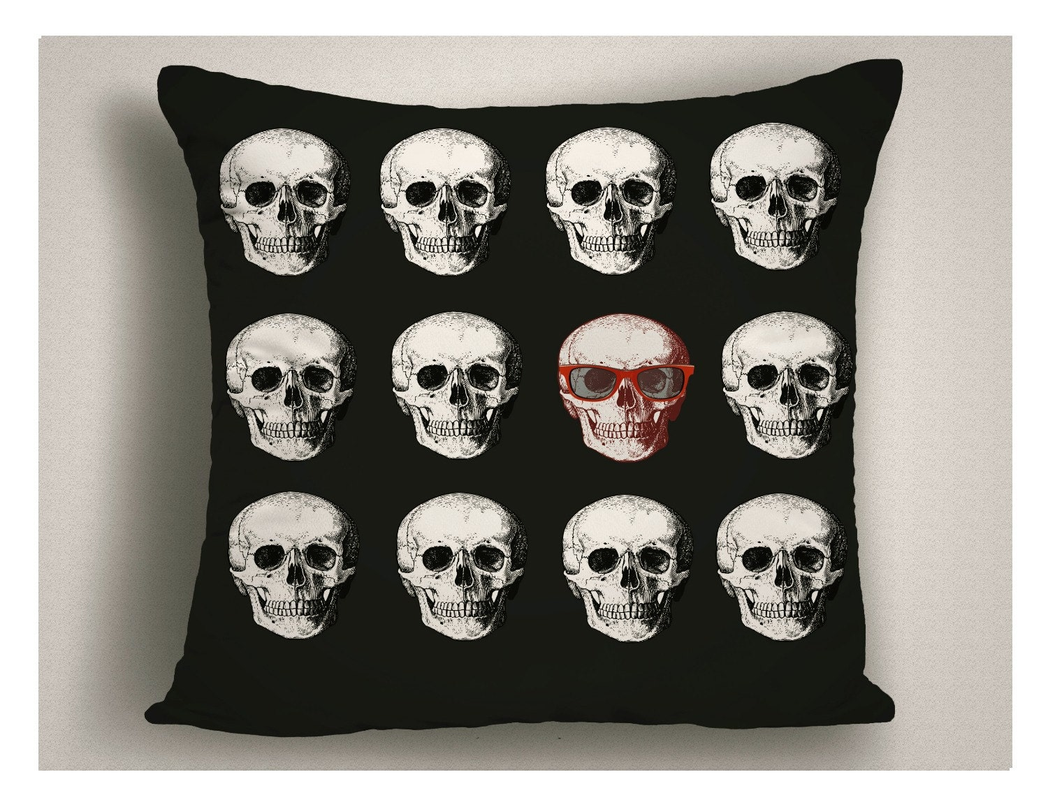 Skull with Glasses Halloween Pillow, Halloween Decorations, Throw ...