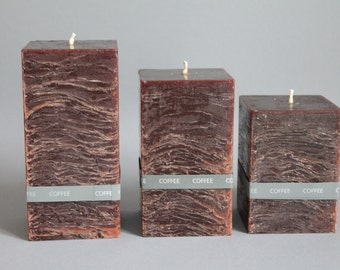 Coffee fragrance & rustic square pillar candle hand made dyed in 3 sizes