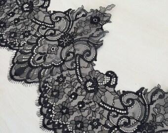 Black lace trimming, black Chantilly Lace Trim MM00045