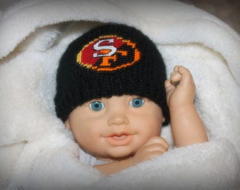 City of CHAMPIONS Baby Hat, San Francisco Baseball/ Football Knit Beanie Hat (Handmade by me and not affiliated with the MLB or NFL)