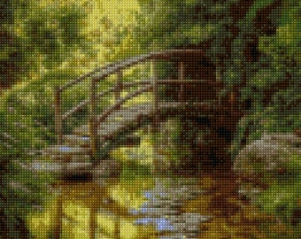 Woodland Bridge Cross Stitch pattern PDF - EASY chart with one color per sheet AND traditional chart! Two charts in one!