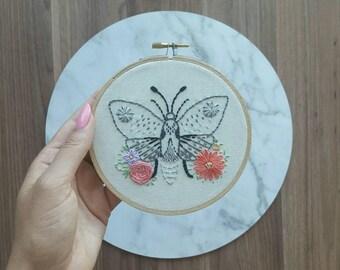 Floral Moth Embroidery Hoop Wall Hanging Crewel Art