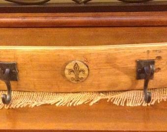 Bourbon barrel stave coat rack