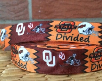 10 yards OU/OSU house divideded grosgrain ribbon- 72 cents a yard