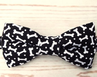 Boy's Bow Tie - Unique Bow Ties - Black Bow Tie - Velcro Bow Tie - Alternative Wedding - Bone Bow Tie