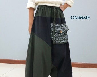 OMMME harem pants  (019 green and black)